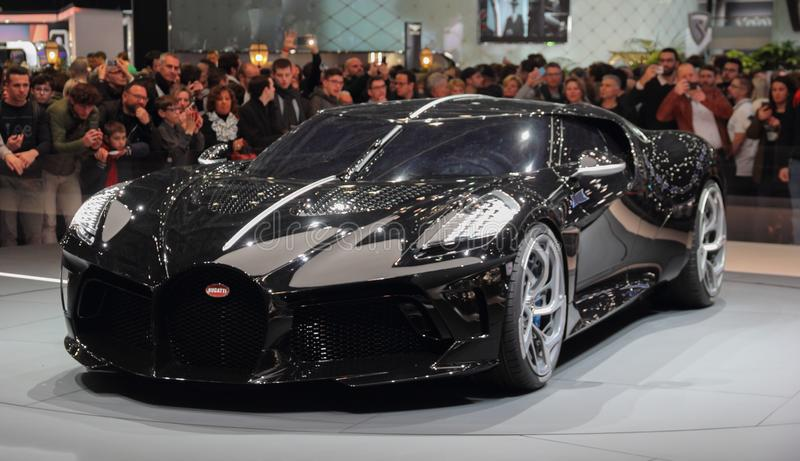 Switzerland; Geneva; March 10, 2019; Bugatti - La Voiture Noire; The 89th International Motor Show in Geneva from 7th to 17th of. March, 2019 royalty free stock photography