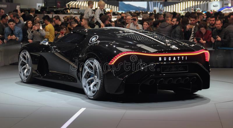 Switzerland; Geneva; March 10, 2019; Bugatti - La Voiture Noire; The 89th International Motor Show in Geneva from 7th to 17th of. March, 2019 stock photo