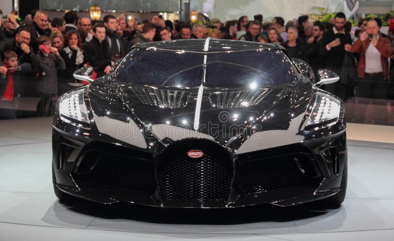 Switzerland; Geneva; March 10, 2019; Bugatti - La Voiture Noire; The 89th International Motor Show in Geneva from 7th to 17th of. March, 2019 stock photography