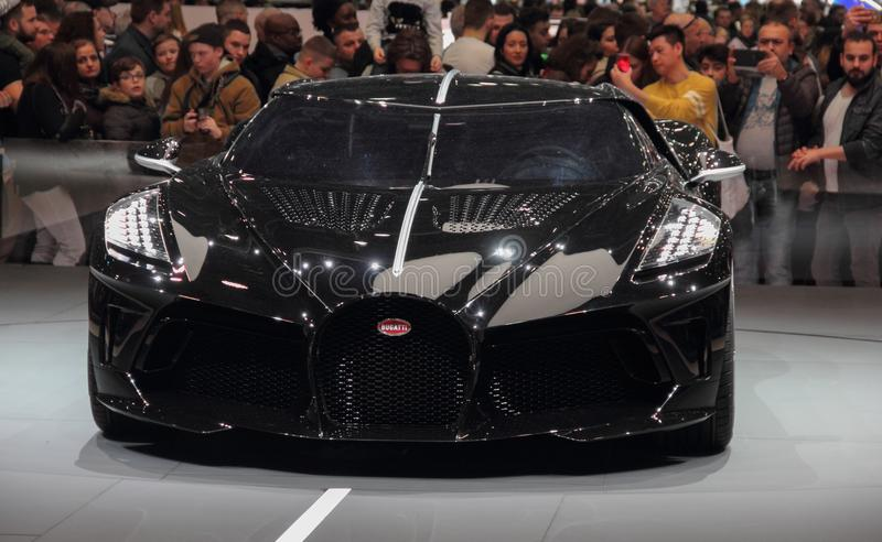 Switzerland; Geneva; March 10, 2019; Bugatti - La Voiture Noire; The 89th International Motor Show in Geneva from 7th to 17th of. March, 2019 royalty free stock photo