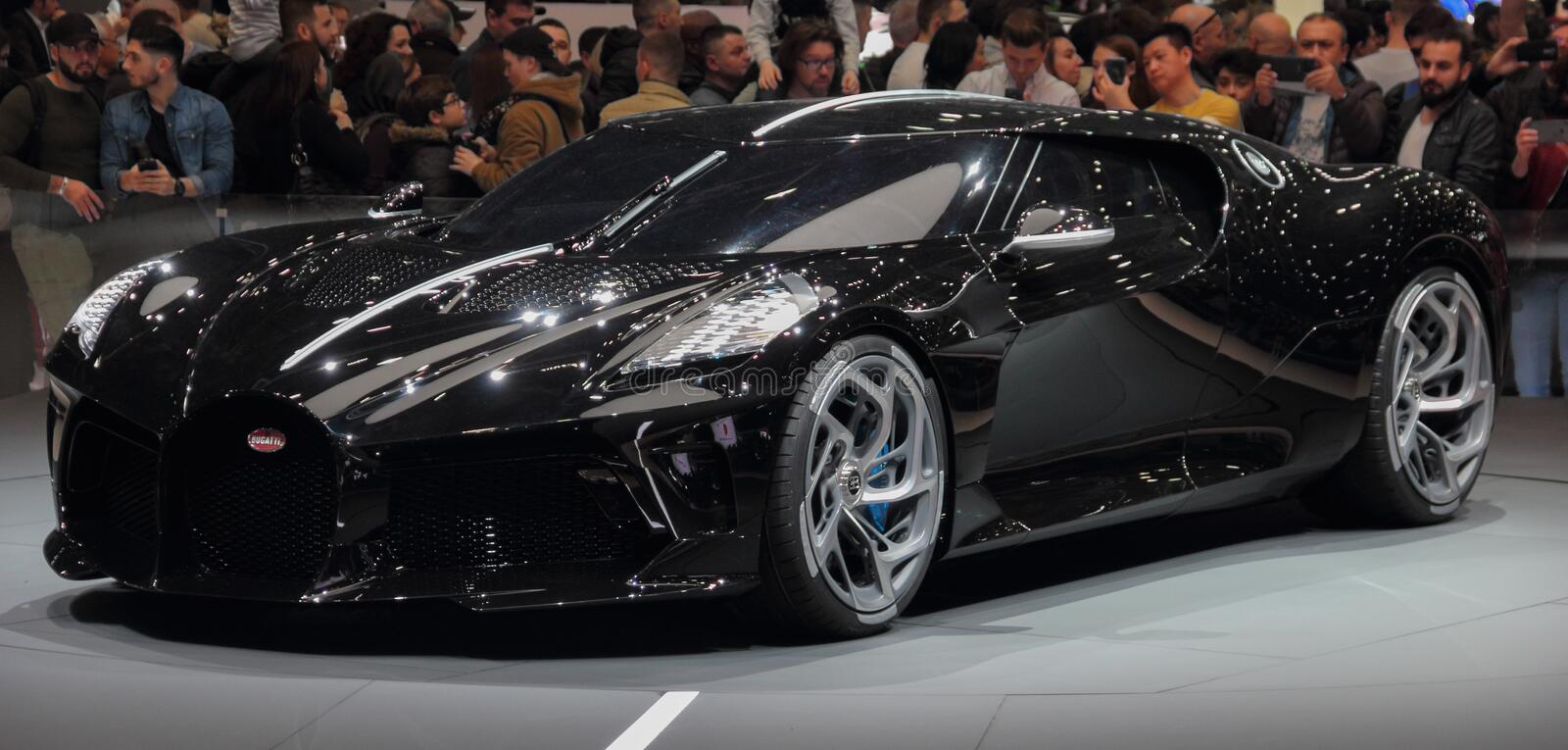 Switzerland; Geneva; March 10, 2019; Bugatti - La Voiture Noire; The 89th International Motor Show in Geneva from 7th to 17th of. March, 2019 stock image