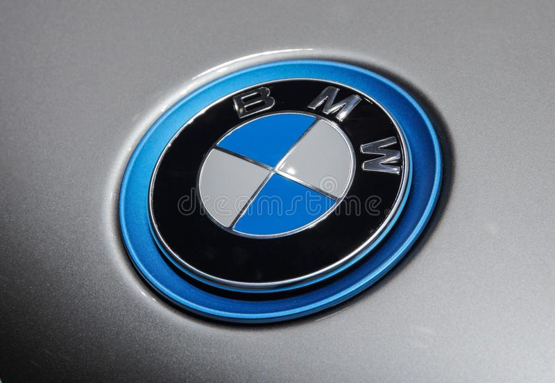 Switzerland; Geneva; March 8, 2018; The close up of BMW hood emblem with gray background; the 88th International Motor Show in Ge stock photos
