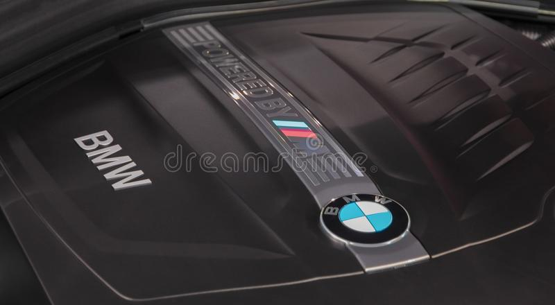 Switzerland; Geneva; March 8, 2018; The close up of BMW M2 engine cover; The 88th International Motor Show in Geneva from 8th to. 18th of March, 2018 royalty free stock photography