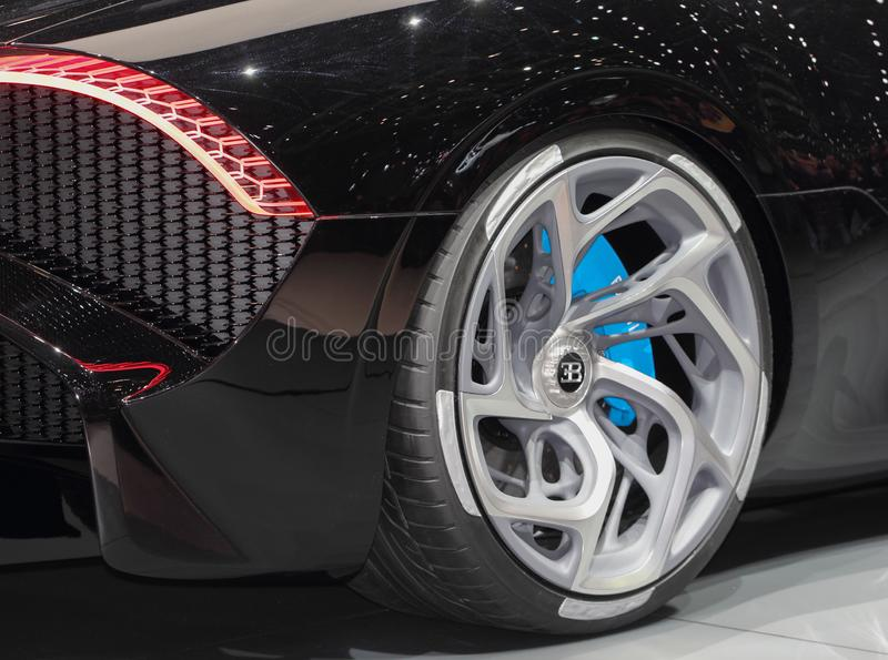Switzerland; Geneva; March 10, 2019; A close up of Bugatti - La Voiture Noire right rear wheel; The 89th International Motor Show. In Geneva from 7th to 17th of stock images
