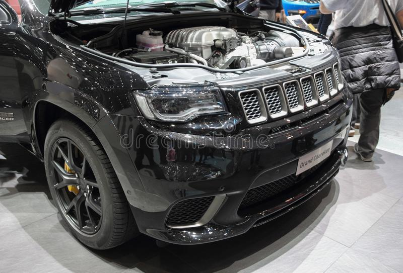 Switzerland; Geneva; March 11, 2019; Jeep Grand Cherokee front; The 89th International Motor Show in Geneva from 7th to 17th of royalty free stock photos