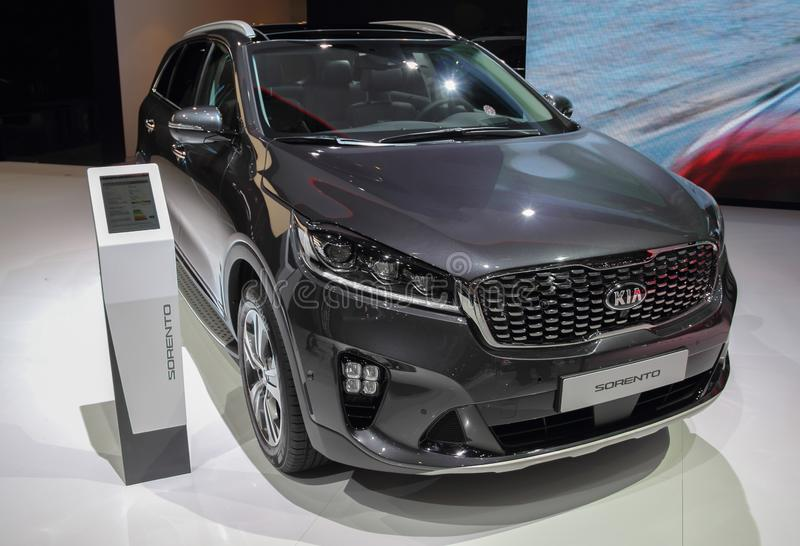 Switzerland; Geneva; March 9, 2019; KIA Sorento, front; The 89th International Motor Show in Geneva from 7th to 17th of March, royalty free stock photo