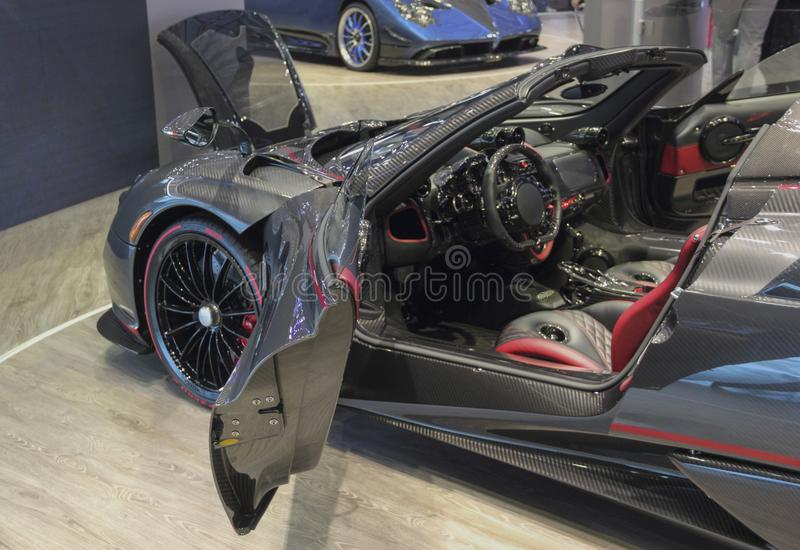 Switzerland; Geneva; March 8, 2018; Pagani Huayra Roadster inter. Ior; The 88th International Motor Show in Geneva from 8th to 18th of March, 2018 royalty free stock photography