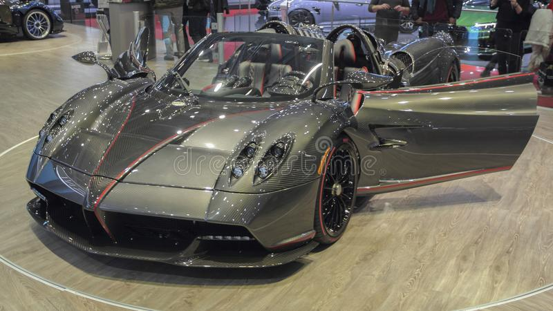 Switzerland; Geneva; March 8, 2018; Pagani Huayra Roadster; The. 88th International Motor Show in Geneva from 8th to 18th of March, 2018 stock image