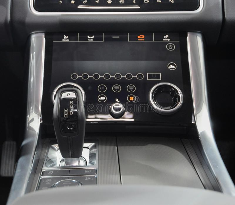 Switzerland; Geneva; March 8, 2018; Range Rover automatic gearbox lever; the 88th International Motor Show in Geneva from 8th to stock image