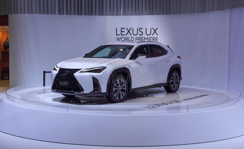 Switzerland; Geneva; March 8, 2018; World Premiere Lexus UX 250h front from the left; The 88th International Motor Show in Geneva. From 8th to 18th of March royalty free stock photos