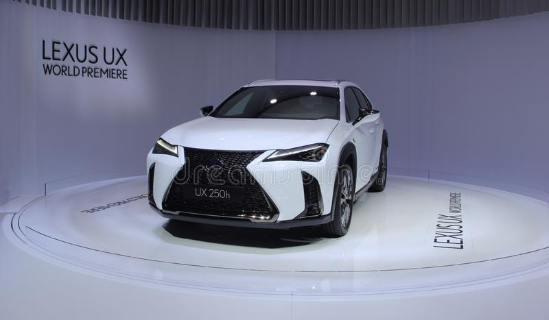 Switzerland; Geneva; March 8, 2018; World Premiere Lexus UX 250h; The 88th International Motor Show in Geneva from 8th to. 18th of March, 2018 stock images