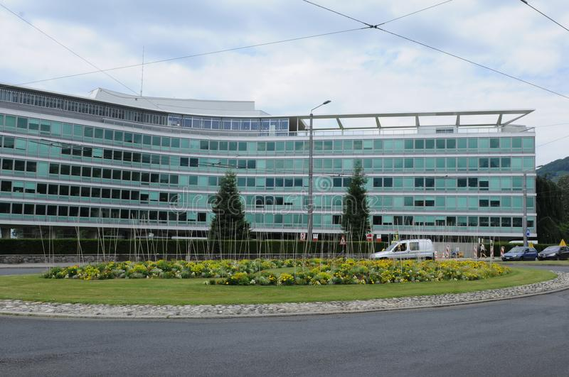 Switzerland: The Headquarter of the food and drink multi Nestlé in Vevey City at Lake Geneva royalty free stock images