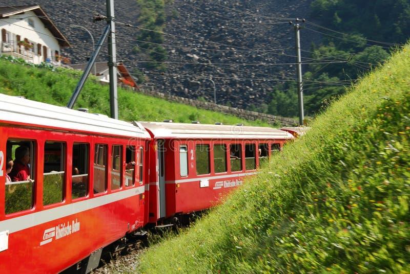 Switzerland:July 2012, Swiss mountain Train Bernina Express from Tirano to St. Moritz. royalty free stock image