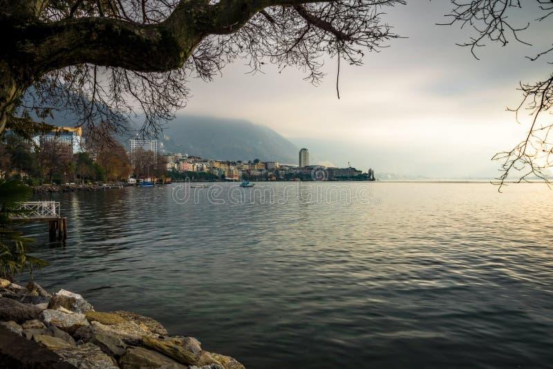 Switzerland - Lake Geneva Riviera Natural Frame - Montreux. Switzerland royalty free stock photography