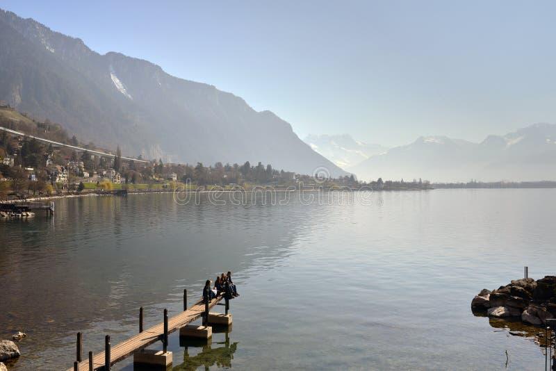 Switzerland Landscape : Geneva Lake of Montreux royalty free stock photography