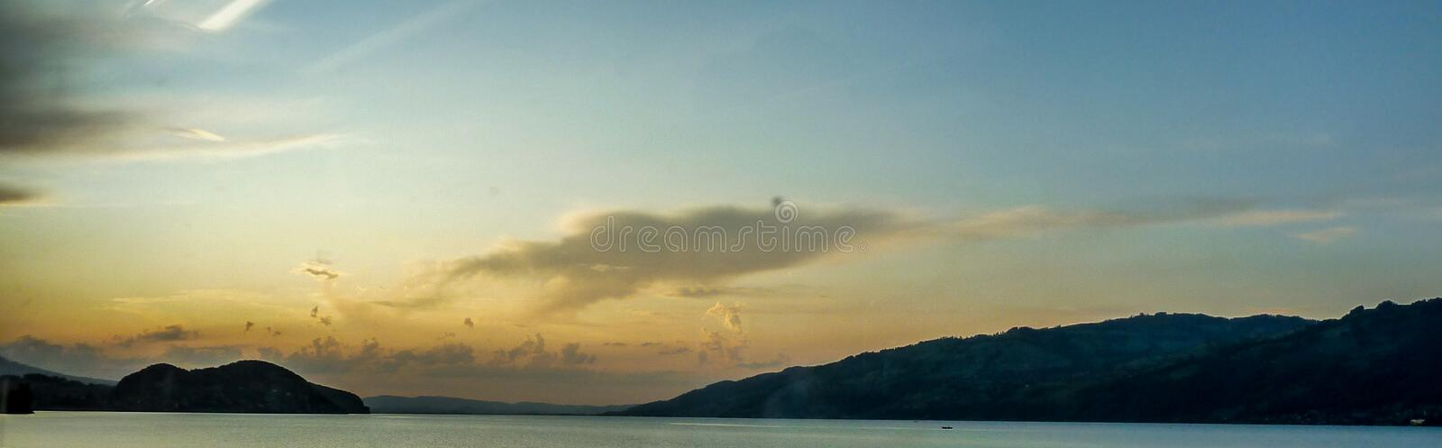 Switzerland, Lauterbrunnen, SCENIC VIEW OF SEA AGAINST SKY DURING SUNSET. Switzerland, Lauterbrunnen, Europe, SCENIC VIEW OF SEA AGAINST SKY DURING SUNSET royalty free stock images