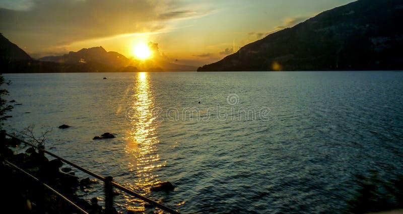 Switzerland, Lauterbrunnen, SCENIC VIEW OF SEA AGAINST SKY DURING SUNSET. Switzerland, Lauterbrunnen, Europe, SCENIC VIEW OF SEA AGAINST SKY DURING SUNSET stock images
