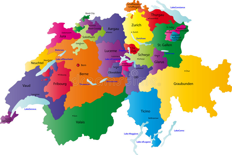 Switzerland map. Designed in illustration with the regions colored in bright colors and with the main cities. Neighbouring countries are in an additional format