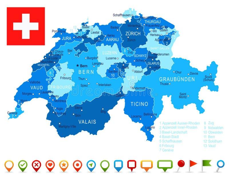 Switzerland Map And Flag Illustration Stock Illustration