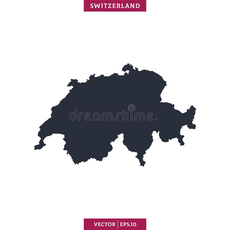 Free Switzerland Map. High Detailed Map Vector In White Background. Stock Photo - 183251900