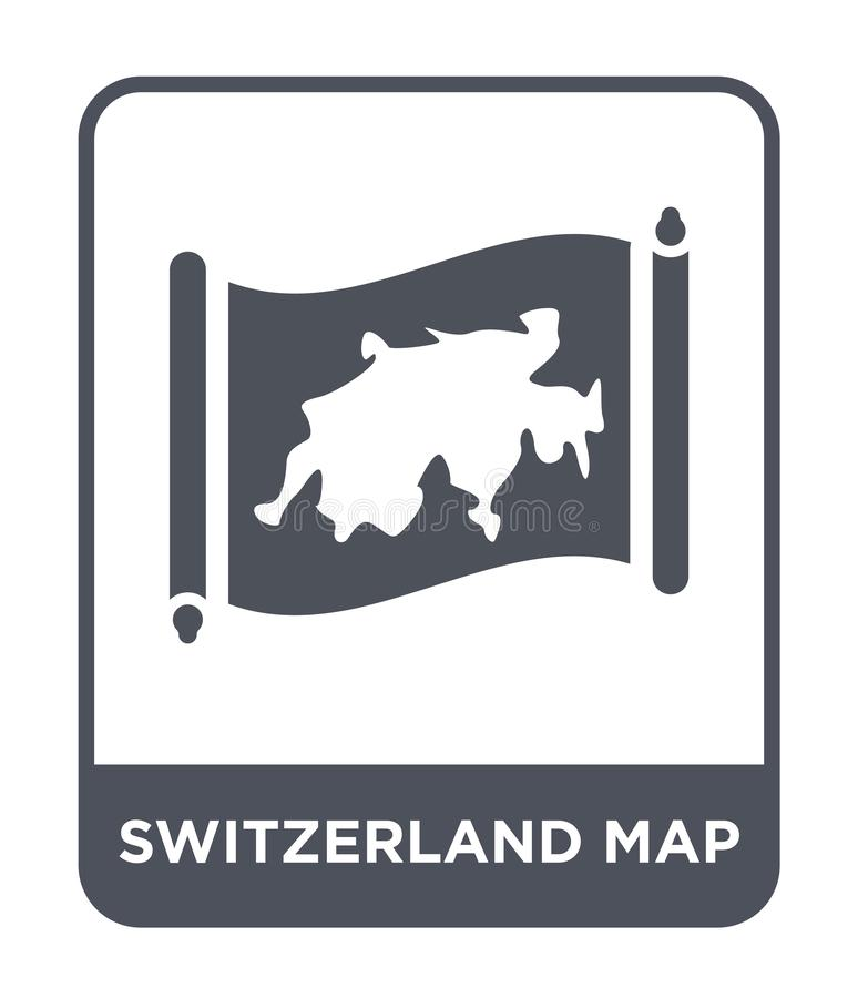 Switzerland map icon in trendy design style. switzerland map icon isolated on white background. switzerland map vector icon simple. And modern flat symbol for stock illustration