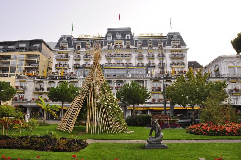 Switzerland: The Park in front of the hotel Majestic in Montreux City stock images