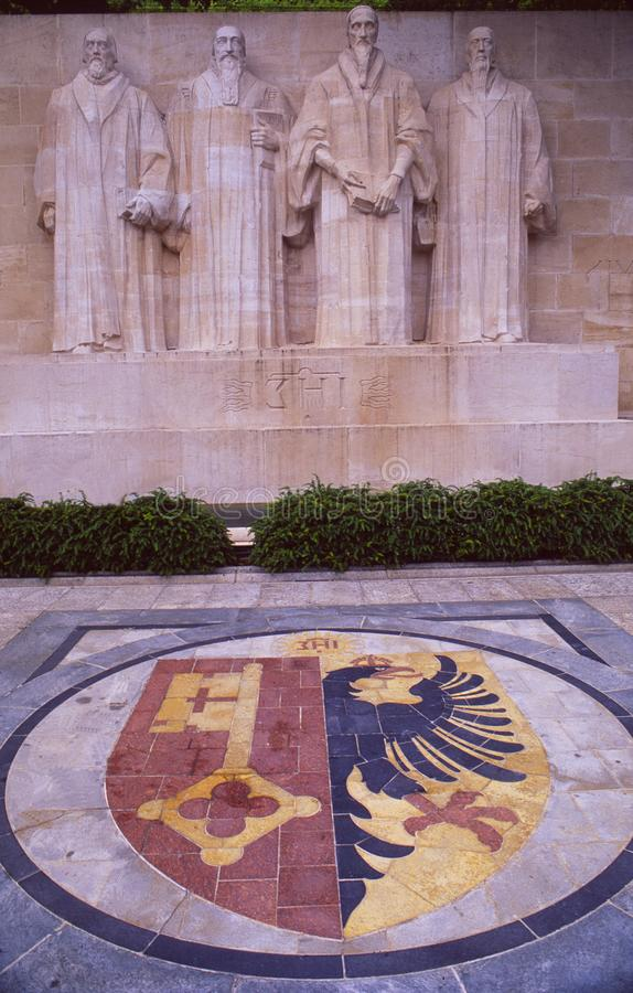 Switzerland: The Reformation Wall in Geneva City stock images