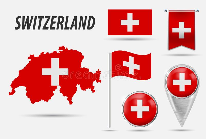 SWITZERLAND. Set flag, map pointer, button, waving flag, symbol, flat icon and map in the colors of the flag. Vector illustration vector illustration