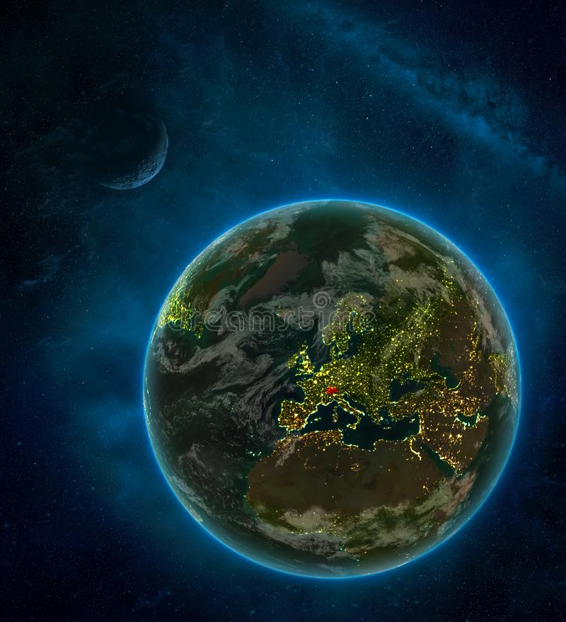 Switzerland from space on Earth at night surrounded by space with Moon and Milky Way. Detailed planet with city lights and clouds. 3D illustration. Elements of vector illustration