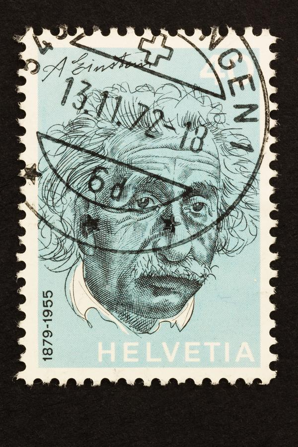 Switzerland Stamp of Einstein issued in1972 royalty free stock images