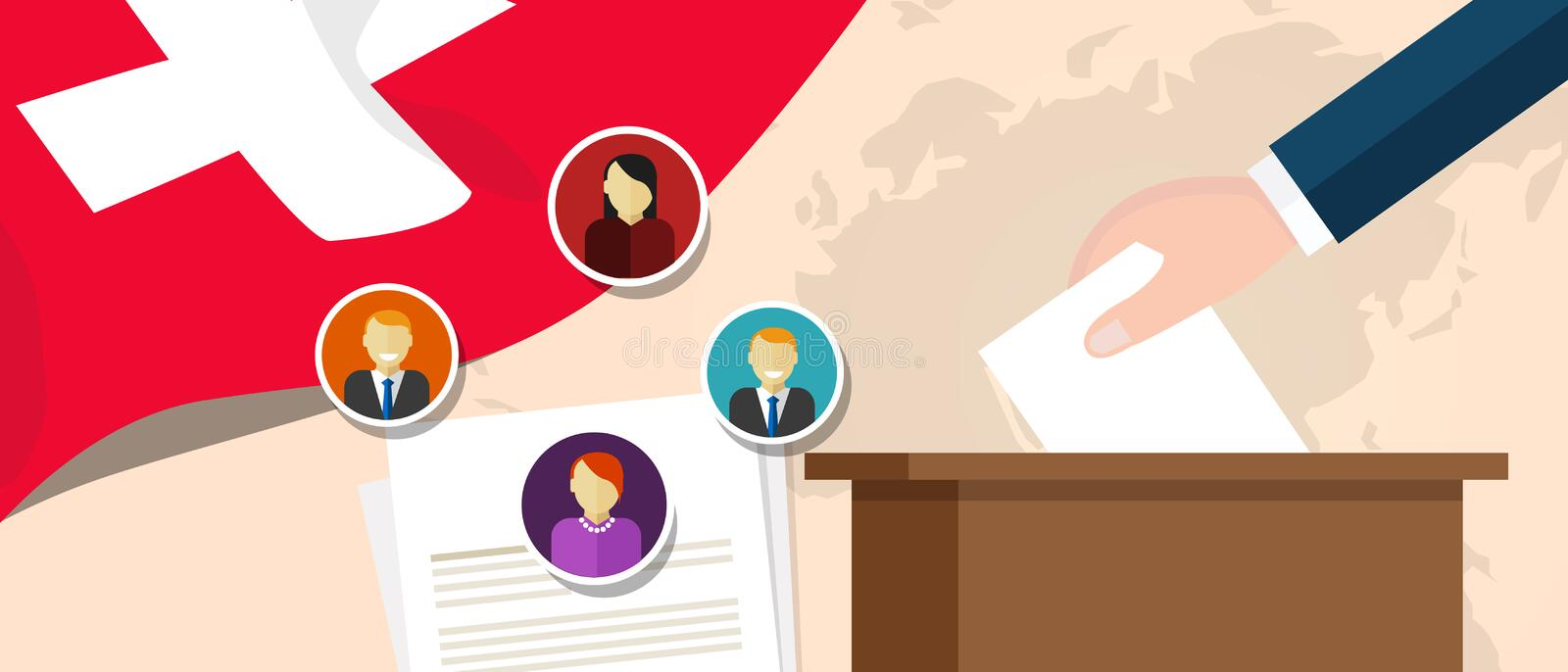 Switzerland Swiss democracy political process selecting president or parliament member with election and referendum. Freedom to vote vector stock illustration