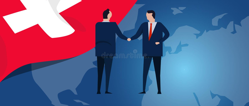Switzerland Swiss international partnership. Diplomacy negotiation. Business relationship agreement handshake. Country. Flag and map. Corporate Global business stock illustration