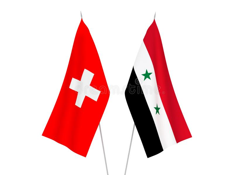 Switzerland and Syria flags. National fabric flags of Switzerland and Syria isolated on white background. 3d rendering illustration vector illustration