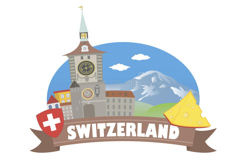 switzerland Turism och lopp vektor illustrationer