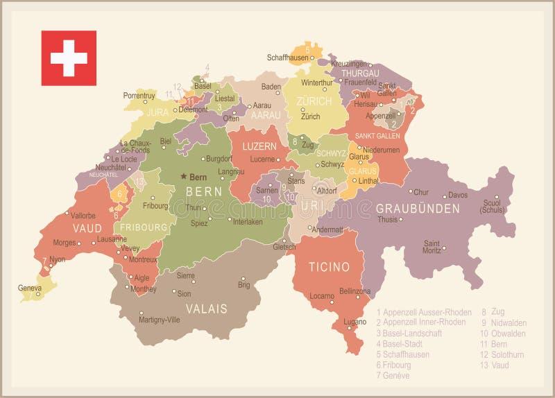 Switzerland Vintage Map And Flag Illustration Stock Illustration