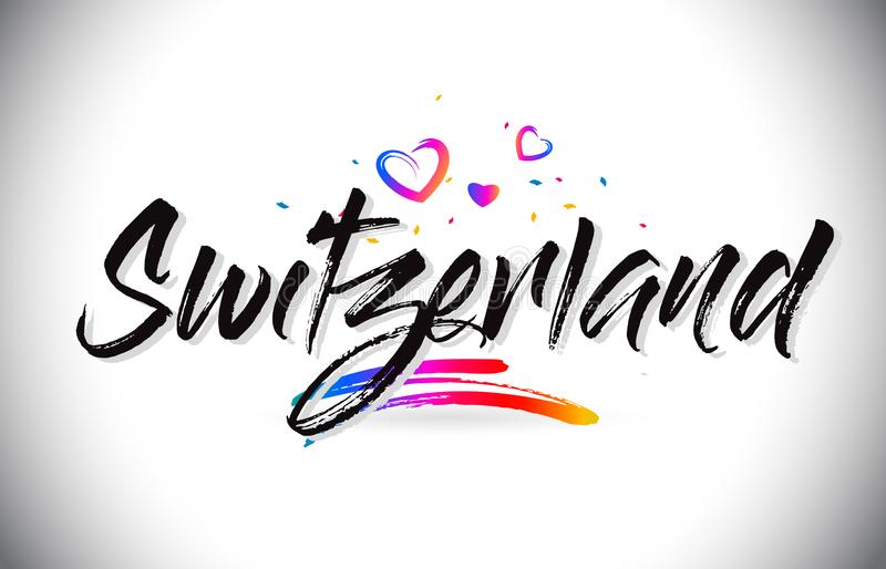 Switzerland Welcome To Word Text with Love Hearts and Creative Handwritten Font Design Vector. Illustration royalty free illustration
