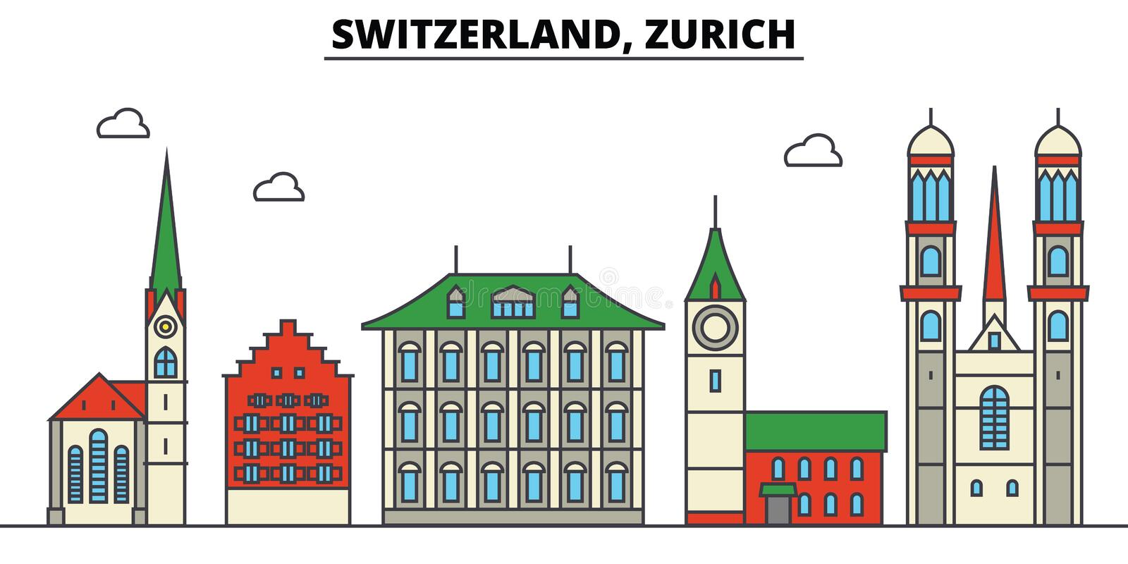 Switzerland, Zurich. City skyline architecture . Editable royalty free illustration