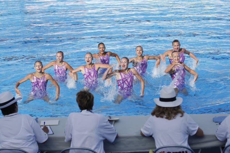 SWM: Världsmästerskapkvinnors sychronised simning för lag royaltyfria bilder