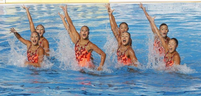 SWM: Världsmästerskapkvinnors sychronised simning för lag royaltyfri bild