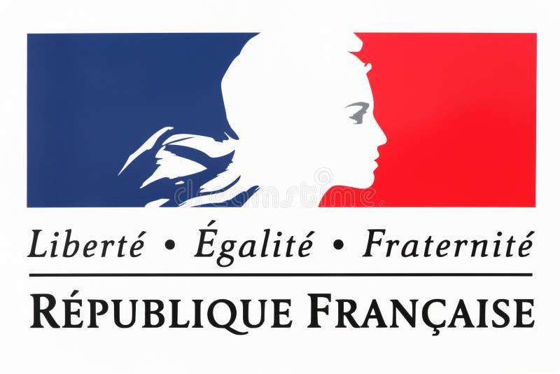Swoboda, równość, braterstwo znak i krajowy motto Francja, zdjęcia stock
