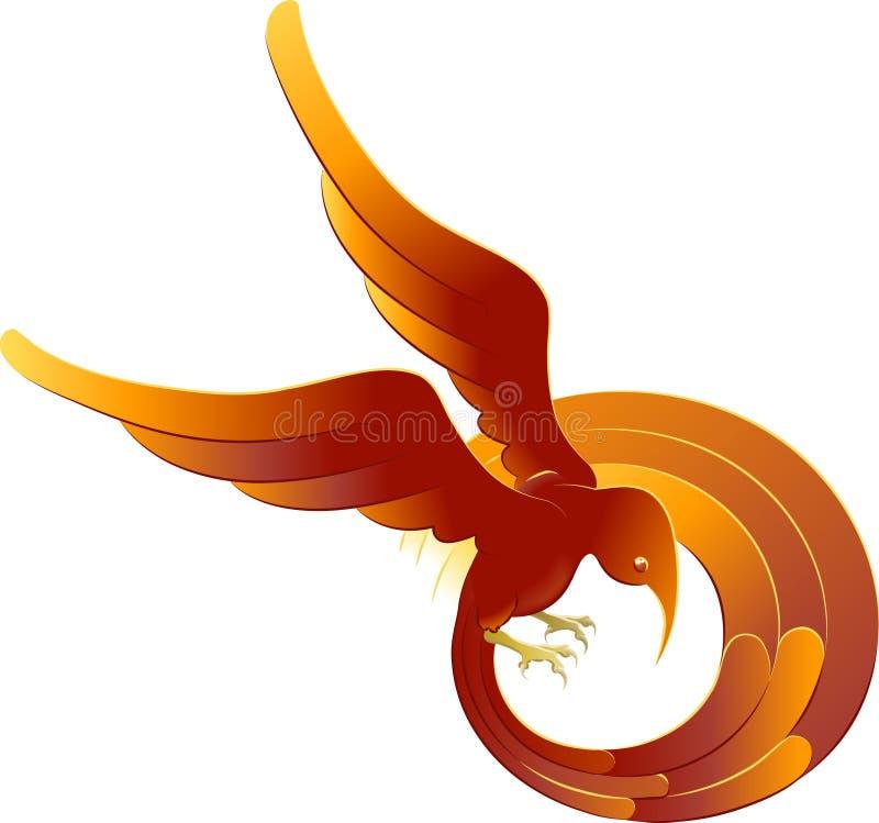 A swooping fiery bird stock illustration