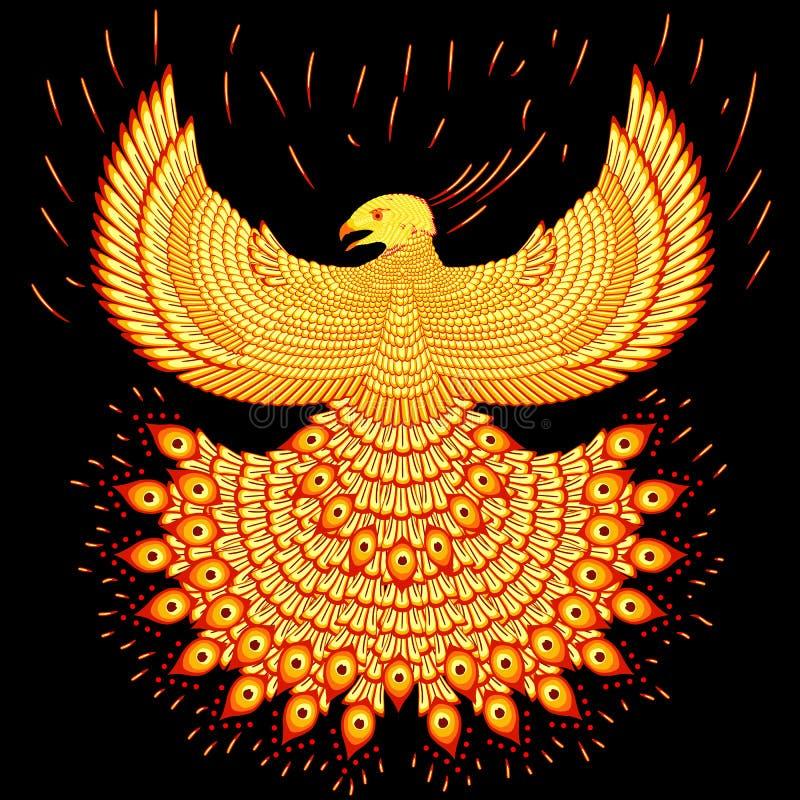 Swooping fiery phoenix. Vector illustration fiery phoenix. Fly phoenix flaming vector illustration