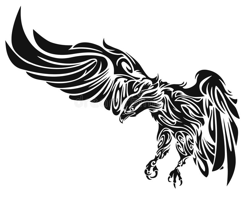 Swooping Tattoo Eagle stock illustration
