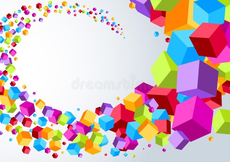 Swoosh由五颜六色的立方体制成 库存例证