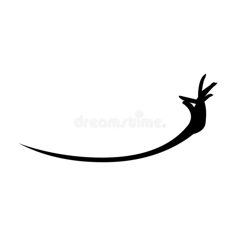Swoosh black apsara hand gesture on white background royalty free illustration