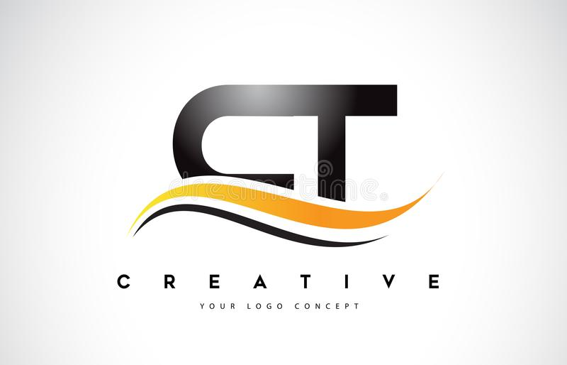 Swoosh-Buchstabe Logo Design CT C T mit moderner gelber Swoosh-Kurve lizenzfreie abbildung