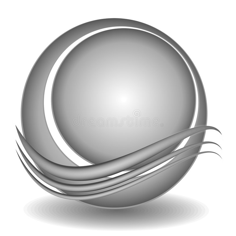 Swoosh Circle Web Site Logo 3. A clip art logo illustration of a globe, ball or circle with an abstract swoosh set on a white background with dropshadow vector illustration