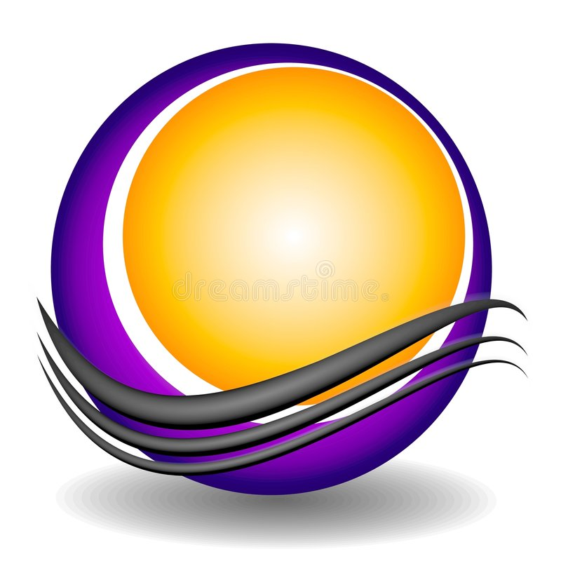 Swoosh Circle Web Site Logo. A clip art logo illustration of a globe, ball or circle with an abstract swoosh set on a white background with dropshadow stock illustration