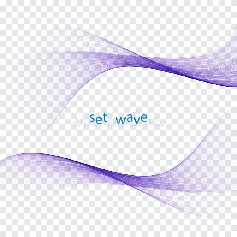 Swoosh colorido brillante fresco futurista ondulado alinea la colección Ondas transparentes del flujo del humo elegante gráfico b stock de ilustración