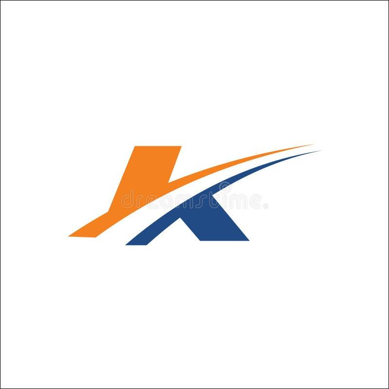 Swoosh do molde do vetor do logotipo das iniciais do curso de K ilustração stock